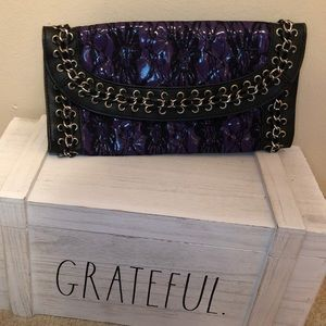 MMS Purple and Black lace clutch,  chain accents